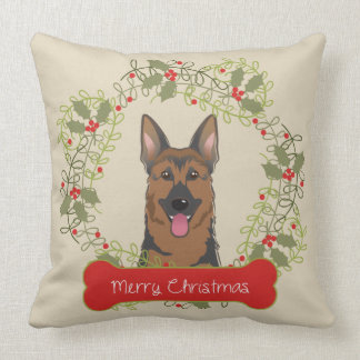 Merry Christmas Dog Breed Throw Pillow