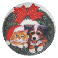 Merry Christmas Dog & Cat Wreath Plate