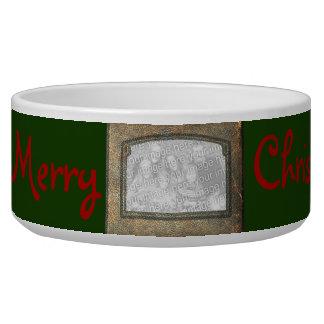 Merry Christmas Dog Photo Insert Frame Pet Water Bowls