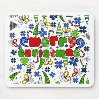 """Merry Christmas"" doodle kid's drawning style Mouse Pad"