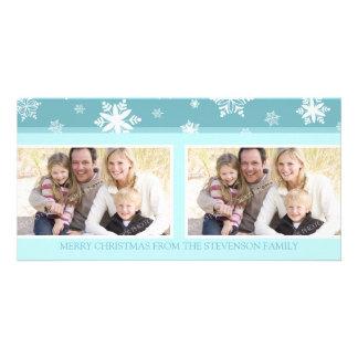 Merry Christmas Double Photo Card Blue Snow