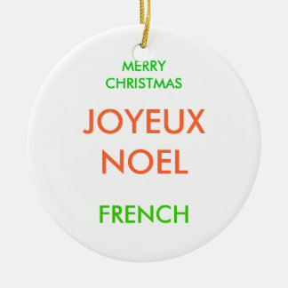 MERRY CHRISTMAS, Double-Sided CERAMIC ROUND CHRISTMAS ORNAMENT