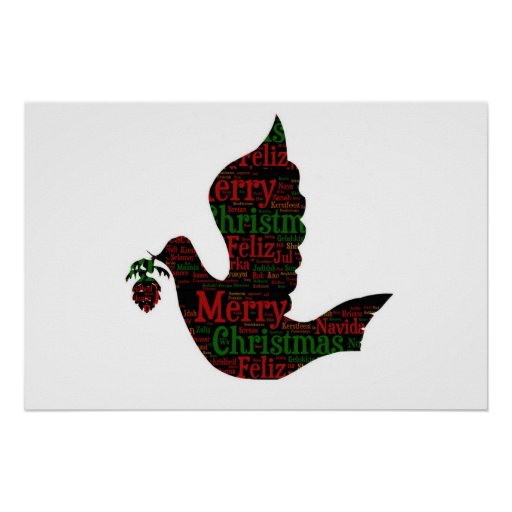 Merry Christmas Dove Poster