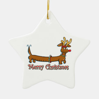 Merry Christmas Doxie Ceramic Ornament