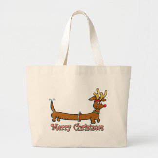 Merry Christmas Doxie Large Tote Bag