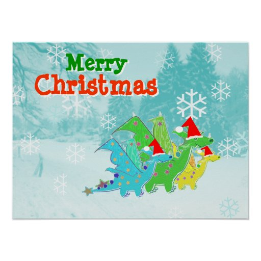 Merry Christmas Dragons Poster