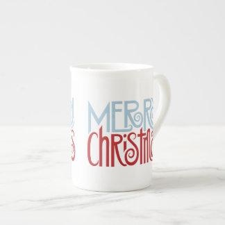Merry Christmas dusk blue Bone China Mug