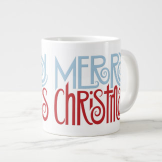 Merry Christmas dusk blue Jumbo Mug