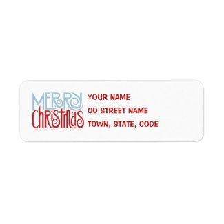 Merry Christmas dusk blue Return Address Label