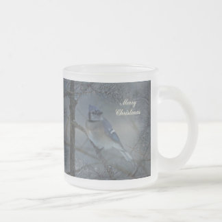 Merry Christmas - Eastern Blue Jay Frosted Glass Coffee Mug