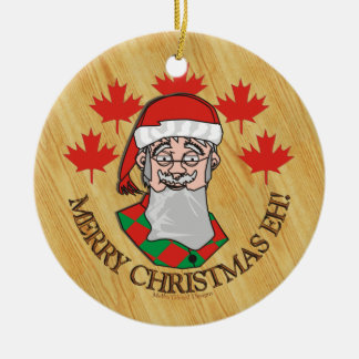 Merry Christmas Eh! Double-Sided Ceramic Round Christmas Ornament