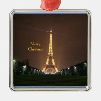 Merry Christmas - Eiffel Tower at night Christmas Tree Ornaments
