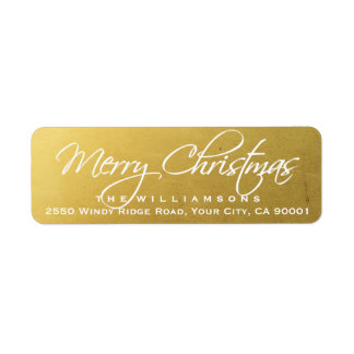 Merry Christmas Elegant Calligraphy Script Gold Label