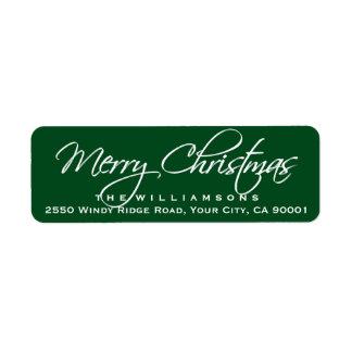 Merry Christmas Elegant Calligraphy Script Green Label