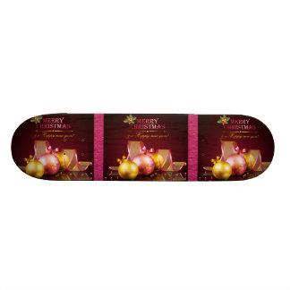 Merry Christmas Elegant Glass Ornaments & Ribbon Skateboard