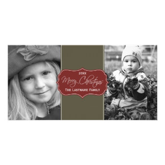 Merry Christmas - Elegant Script 2 Pictures Card