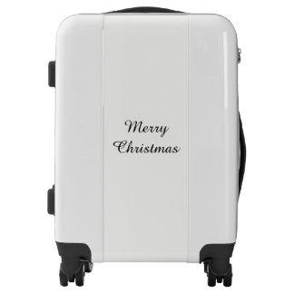 Merry Christmas Elegant Simple Black And White Luggage