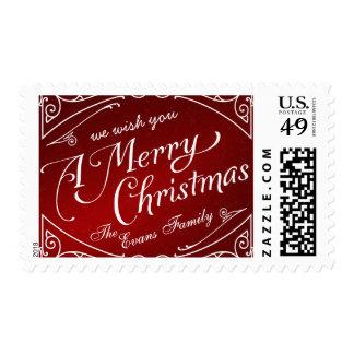 Merry Christmas Elegant Vintage Holiday Postage