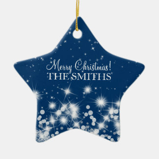 Merry Christmas Elegant Winter Sparkle Royal Blue Ceramic Ornament