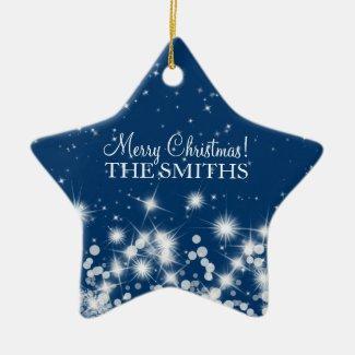 Merry Christmas Elegant Winter Sparkle Royal Blue Ornament