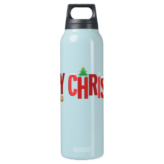 Merry Christmas Elements Crimson Insulated Water Bottle