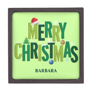 Merry Christmas Elements Emerald Jewelry Box