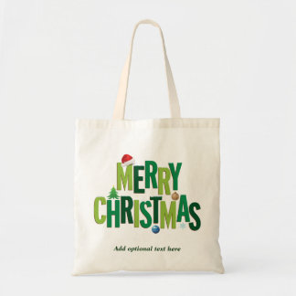 Merry Christmas Elements Green Budget Tote Bag