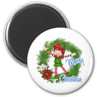Merry Christmas Elf 2 Inch Round Magnet