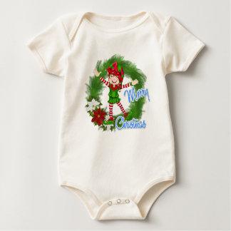 Merry Christmas Elf Baby Bodysuit