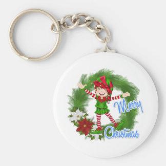 Merry Christmas Elf Basic Round Button Keychain