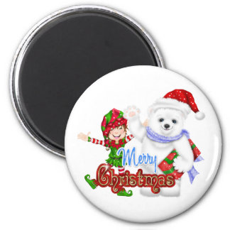 Merry Christmas Elf Bear 2 Inch Round Magnet