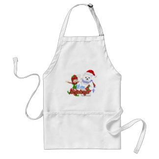 Merry Christmas Elf Bear Adult Apron