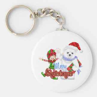 Merry Christmas Elf Bear Basic Round Button Keychain