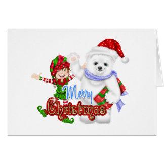 Merry Christmas Elf Bear Card