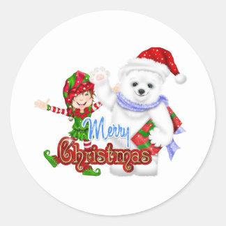 Merry Christmas Elf Bear Classic Round Sticker