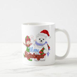 Merry Christmas Elf Bear Classic White Coffee Mug