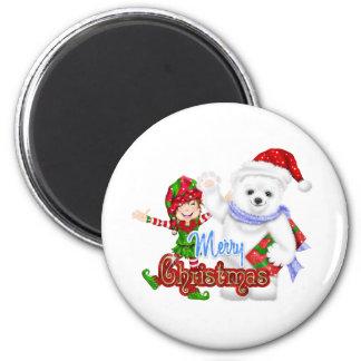 Merry Christmas Elf Bear Magnet