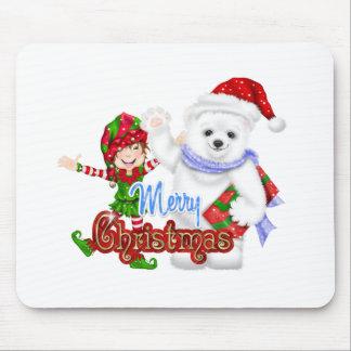 Merry Christmas Elf Bear Mousepad