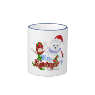 Merry Christmas Elf Bear Ringer Coffee Mug