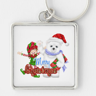 Merry Christmas Elf Bear Silver-Colored Square Keychain