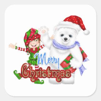 Merry Christmas Elf Bear Square Sticker
