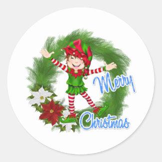 Merry Christmas Elf Classic Round Sticker