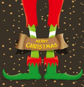 Merry Christmas Elf Legs Shower Curtain