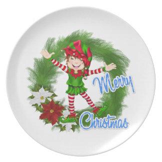 Merry Christmas Elf Melamine Plate