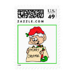 Merry Christmas Elf Postage Stamps