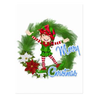 Merry Christmas Elf Postcard