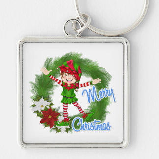 Merry Christmas Elf Silver-Colored Square Keychain