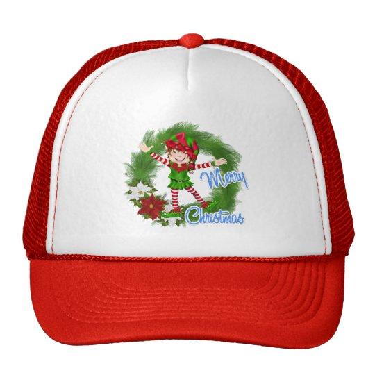 Merry Christmas Elf Trucker Hat