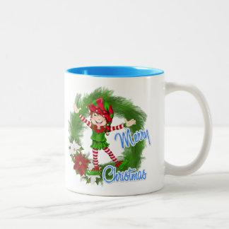 Merry Christmas Elf Two-Tone Coffee Mug