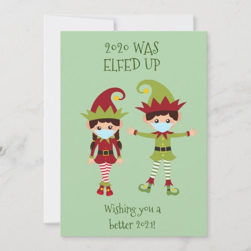 Merry Christmas Elfed Up Funny Face Mask 2020 Holiday Card